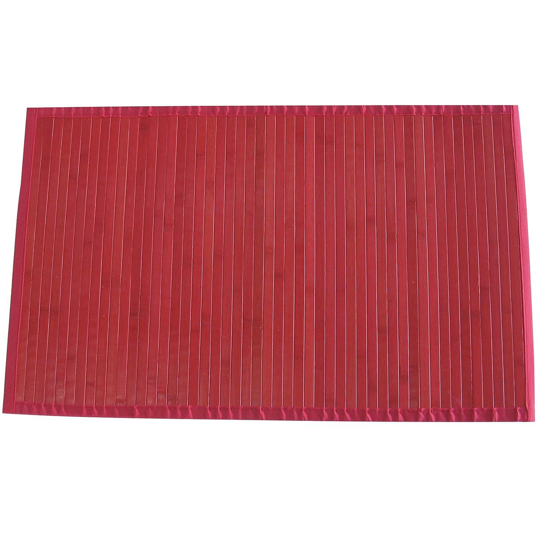 80 x 150 cm MSV 140532 Tapis de Bain 90x60 cm en Bambou en Rouge