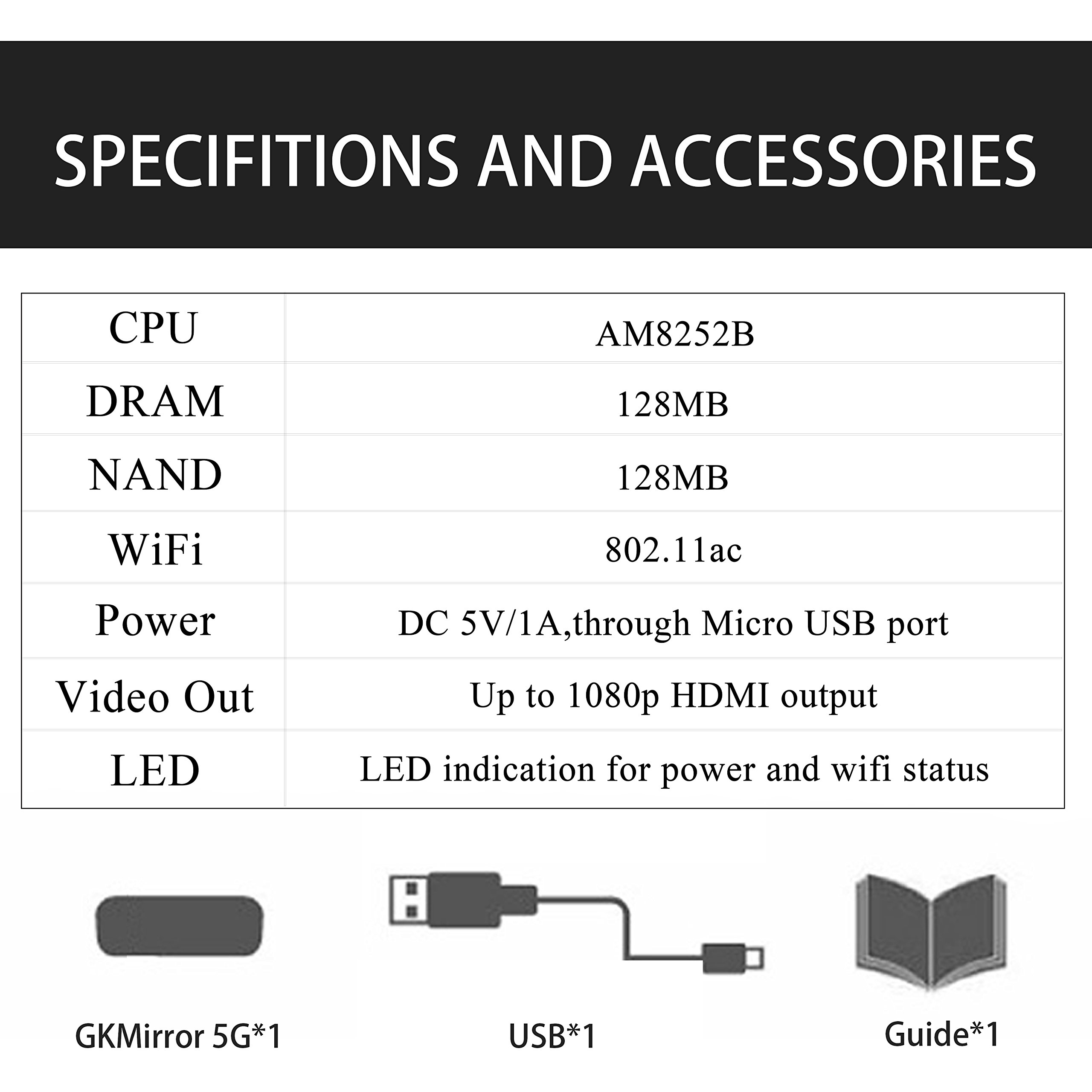 【GKMirror 5G】 Ezcast 5G Wifi Display Dongle Digital HDMI Streamer HD Media Chrome Cast for Youtube Airplay Miracast(Champagne Gold)