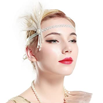 Amazon.com   BABEYOND Vintage 1920s Flapper Wedding Headband Roaring 20s Bridal  Headpiece with Feather Great Gatsby Themed Wedding Hair Accessories   Beauty a80fa598091