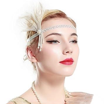 Amazon.com   BABEYOND Vintage 1920s Flapper Wedding Headband Roaring 20s Bridal  Headpiece with Feather Great Gatsby Themed Wedding Hair Accessories   Beauty 5f1233eb78f