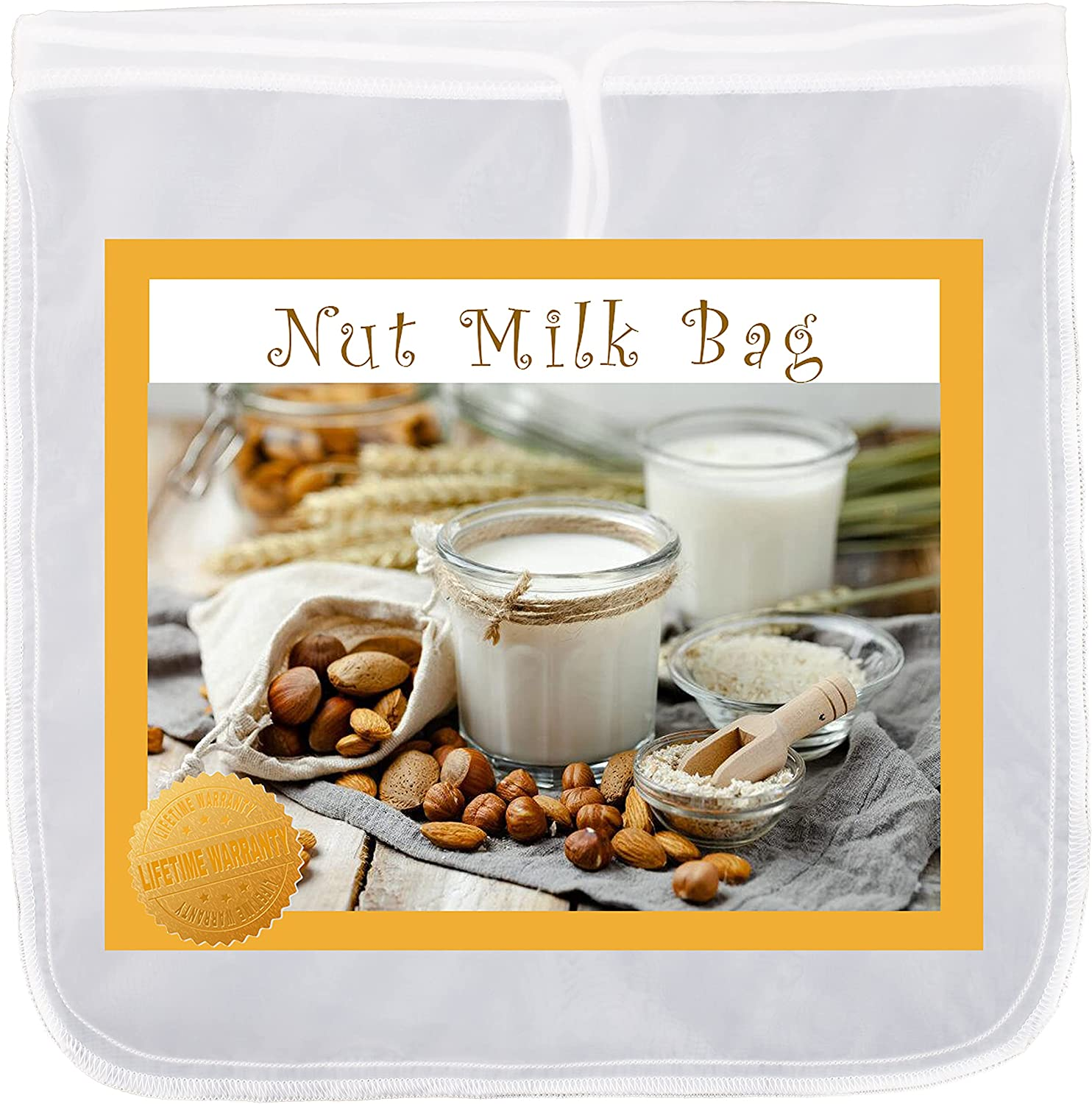 Max K Nut Milk Bag - 50-Micron Straining Pouch with Drawstring - Non-BPA Food-Grade Fine Nylon Mesh - Repels Water & Rot - Easy to Clean & Quick Drying - For Almond, Juice, Cold Brew, Cheese, Yogurt