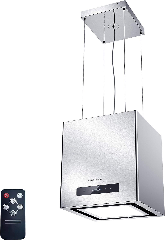 CIARRA CBCS4820 Campana Extractora Isla 40cm 550 m³/h 100W - Control Táctil y Remoto - Función de Temporización - Recirculación Interna por Filtro de Carbón CBCF003 - Acero Inoxidable Plata