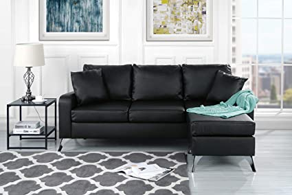 Divano Roma Furniture Bonded Leather Sectional Sofa   Small Space  Configurable Couch (Black)