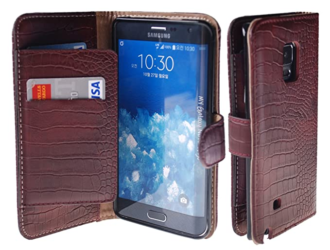 Galaxy Note Edge Case, [Vintage Wine] Bi-Fold Flip Cover [Book Wallet]  Leather Case [6 Card Slot] Cover For Galaxy Note Edge (Wallet Wine)