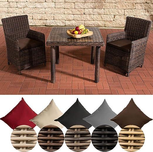 CLP Dorado - Juego de muebles de jardín de polirratán, mesa de comedor con tablero de cristal y dos sillas de jardín: Amazon.es: Hogar
