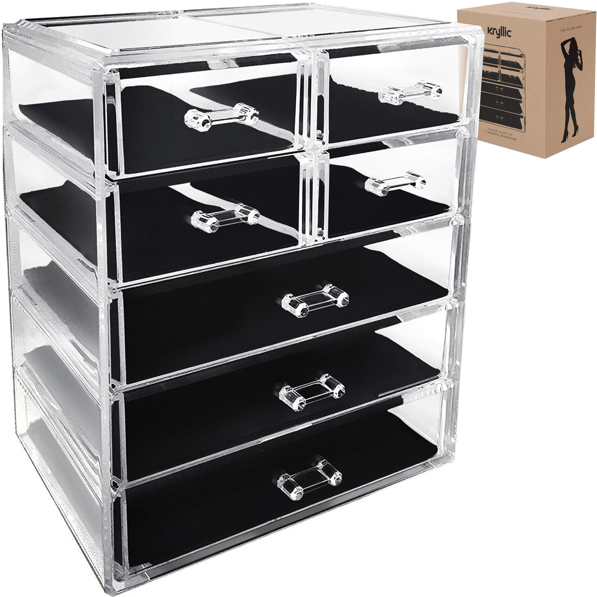 Acrylic Cosmetic Makeup Jewelry Organizer - Large 7 drawer make up holder for brush cream lipstick palette! Countertop beauty makeup organization box ideal storage for any bathroom or bedroom table!
