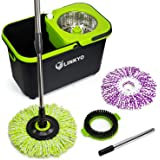 LINKYO Spin Mop Bucket System - Microfiber Mop with Easy Wringer Bucket