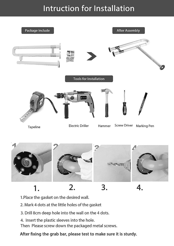 Amazon.com: IBAMA R Shape Toilet Safety Frame Rail Shower Grab Bar ...