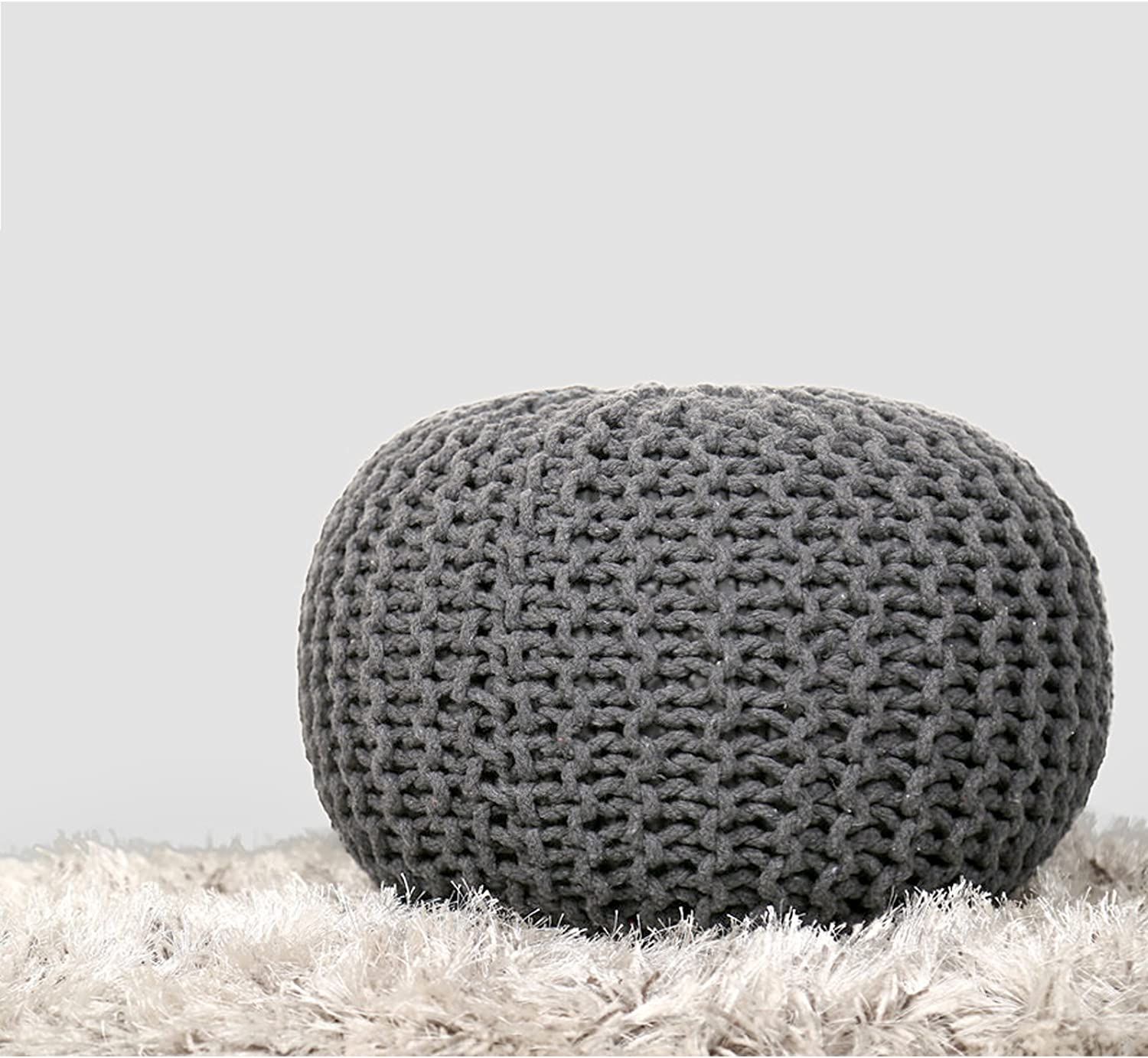 RAJRANG BRINGING RAJASTHAN TO YOU Boho Home Decor Seating Round Ottoman - Macrame Cotton Cord Woven Stuffed Floor Pouf Decorative Room Furniture Patio Outside Puff - Light Gray - 20 X 14 Inches