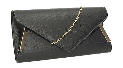 a1b8dd7f417 Laurie PU Leather Envelope Womens Clutch Bag Ladies Clutch Purse Evening Bag  - Black