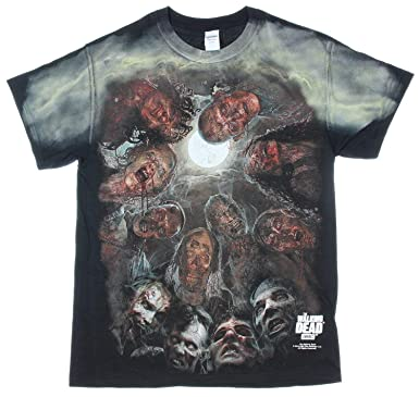 68dfa62ee Amazon.com: The Walking Dead Zombies Under The Moon Graphic Adult T-Shirt:  Clothing