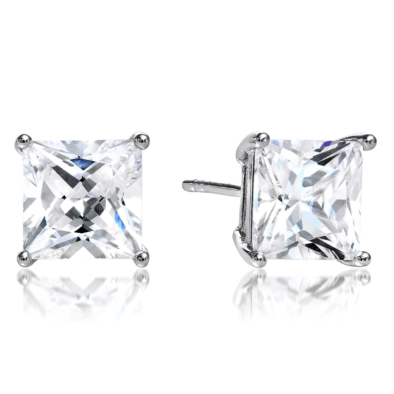 Black Square Princess Cut CZ Basket Set Sterling Silver Men Unisex Stud Earrings