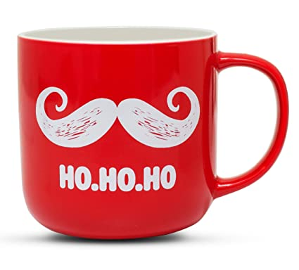 Christmas Coffee Mugs.Gifffted Funny Christmas Coffee Mug Santa Claus Moustache And Ho Ho Ho Unique Christmas Mugs For Friends And Family Christmas Gifts Red Ceramic