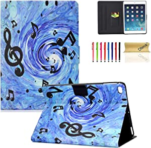 Dteck iPad 9.7 2018 2017 / iPad Air 2 / iPad Air Case, Multiple Angle Stand Smart Full-Body Protective Auto Sleep/Wake Feature Cover for iPad 9.7 inch (6th/5th Gen),iPad Air 2/Air,Music Score