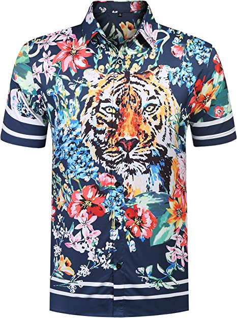 YYear Mens Luxury Long Sleeve Button Flower Print Gold Shirts