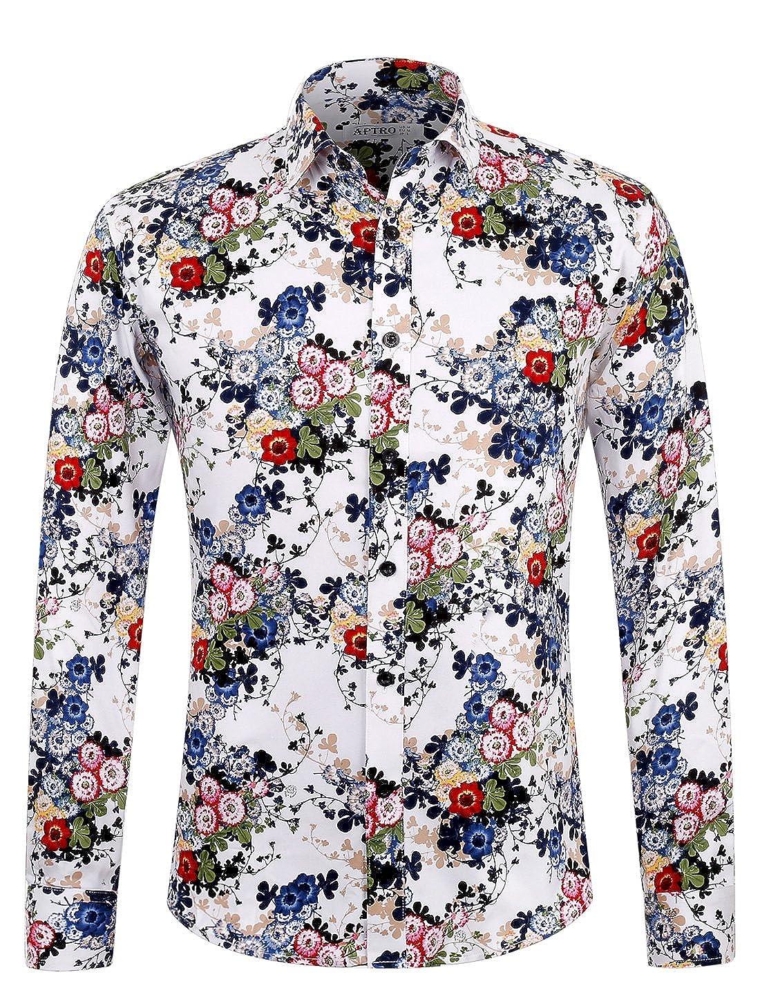 APTRO Men's Shirt Cotton Print Holiday Style Long Sleeve Floral Shirt