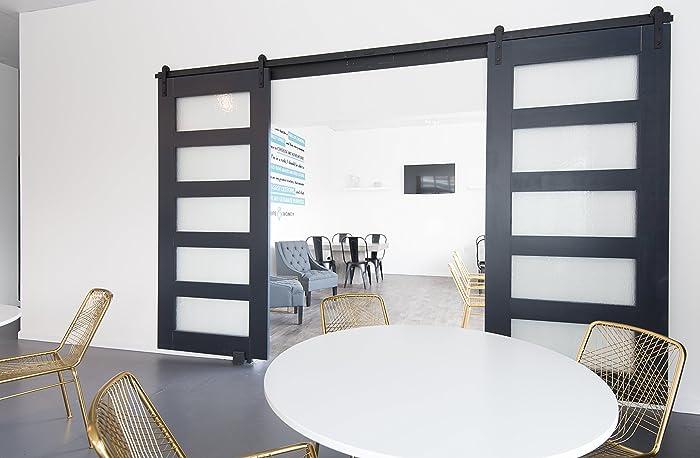 Amazon 5 Panel Glass Design Sliding Barn Door Handmade