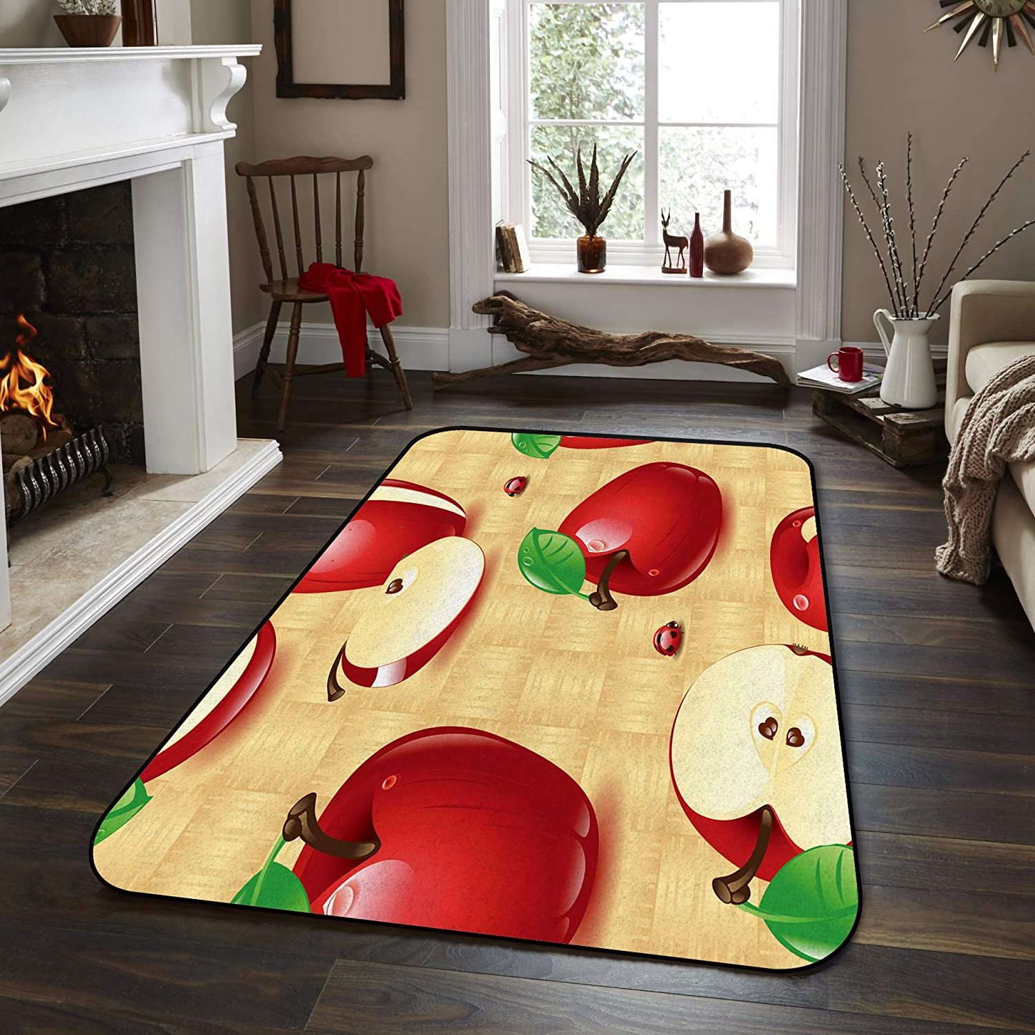 Fantasy Star Non-Slip Area Rugs Room Mat- Red Apples Home Decor Floor Carpet for High Traffic Areas Modern Rug Kitchen Mats Living Room Pads, 4' x 6'