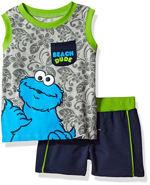 bb5d1b8c Sesame Street Baby Boys' 2 Piece Cookie Monster Tank and Short Set, Grey,