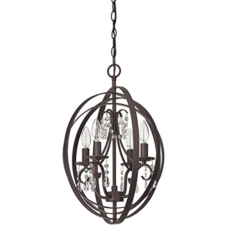 Stone Beam French Country Orb Chandelier, 21 H, With Bulb, Oil Rubbed Bronze