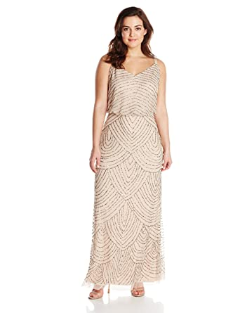 f32457bebf4b Adrianna Papell Women's Plus-Size Long Blouson Beaded Dress, Taupe/Pink, ...