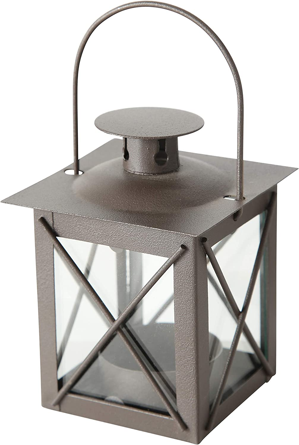 WHW Whole House Worlds Urban Chic Industrial Metal Cross Post Hurricane Lanterns for LED or Wax Tealights, 4 1/2 Inches Tall, Rustic Gray Gunmetal Iron and Crystal Clear Glass, Vintage Style