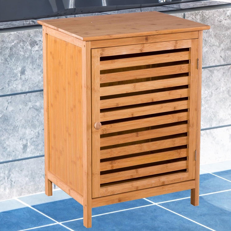 MACO Import Badezimmerschrank mit Tür und Ablagen aus Bambus - Kommode für Bad und Küche
