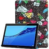 حافظة مطبوع بألوان زاهية لهاتف Huawei MediaPad T5 10 حافظة من جلد البولي يوريثان فائق النحافة لجهاز MediaPad T5