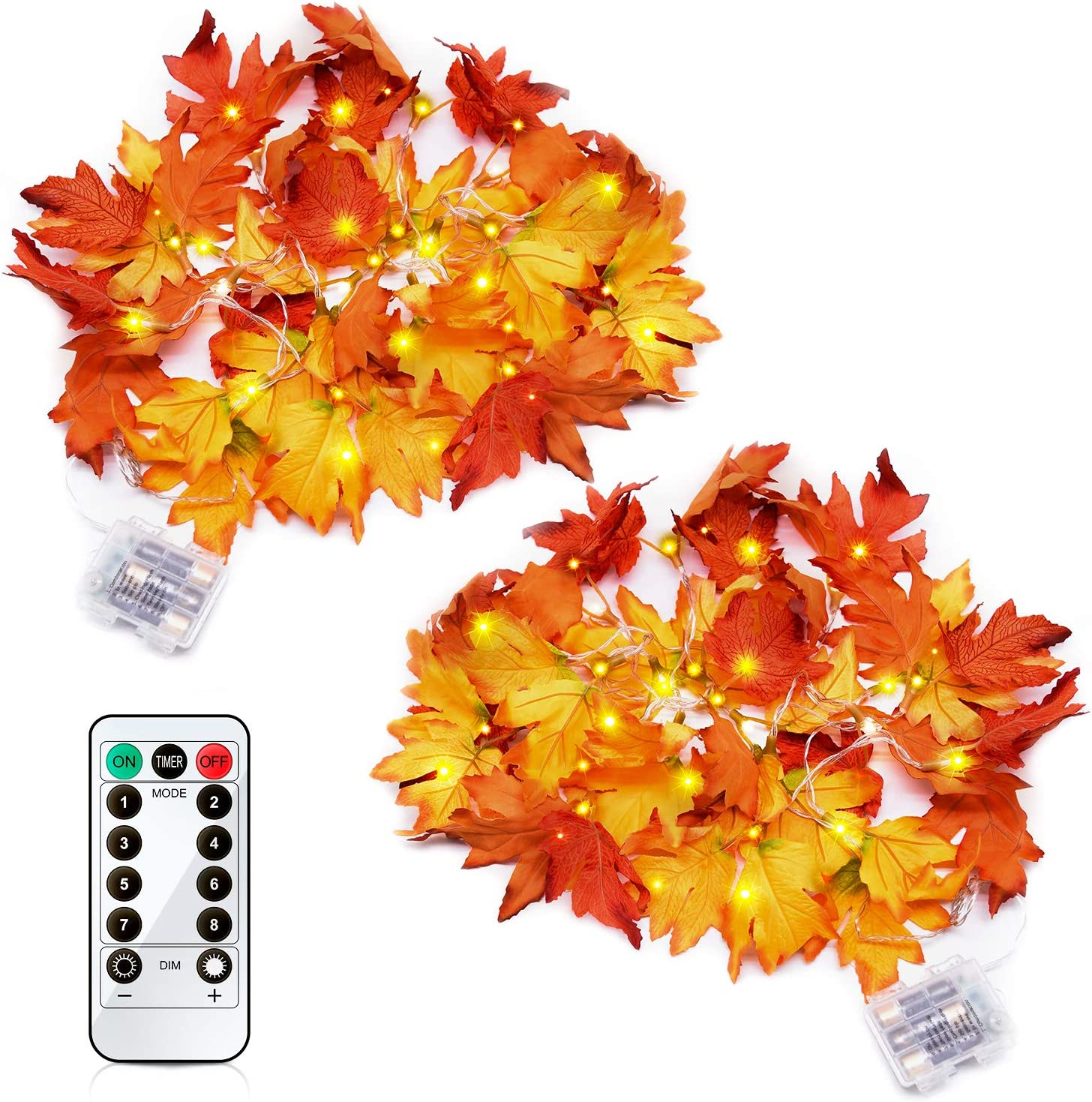GEJRIO Thanksgiving Decorations Lighted Fall Garland 8.2ft 20 LED - Christmas Decor Lights with Remote Control Timer for Thanksgiving Gift Party Christmas Decorations Maple Leaf String Lights