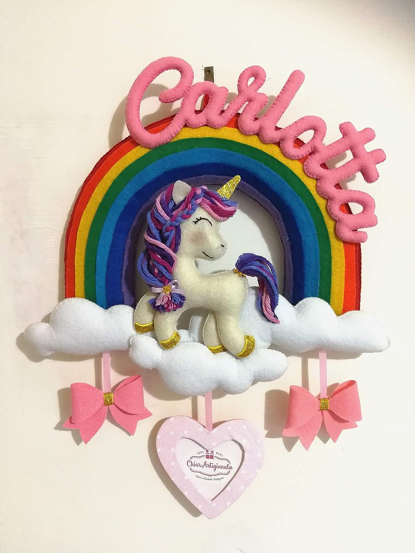 Fiocco Nascita Arcobaleno.Fiocco Nascita Personalizzato Unicorno Arcobaleno Bomboniera Regalo Nascita Bambina Amazon It Handmade