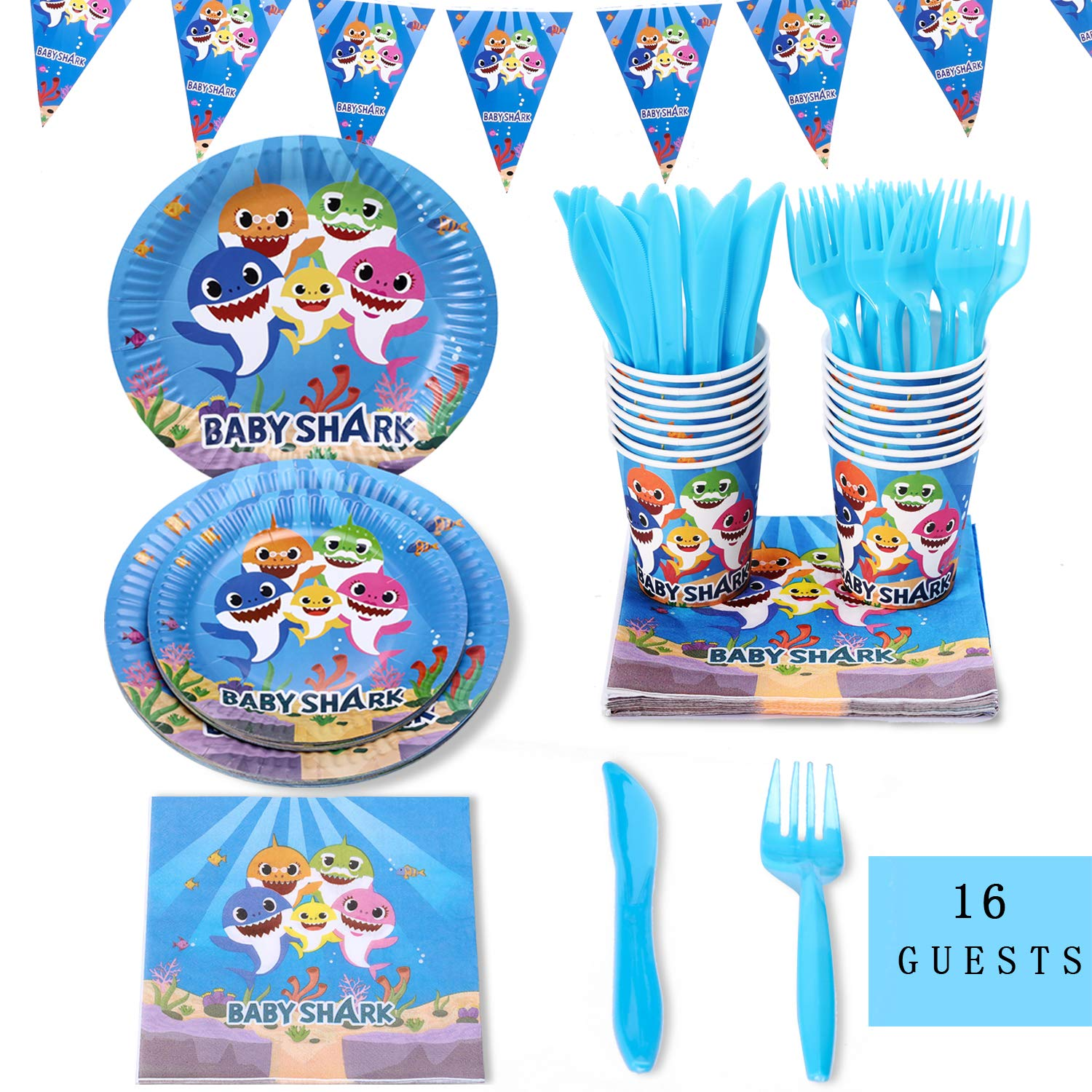 Baby Shark Party Bundles for 16 Guests