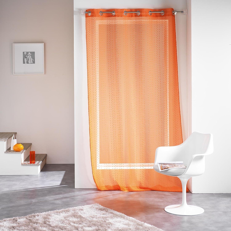 Douceur D'interno 140 x 260 cm, in Voile, Modello Fils coupè Frizy Anelli per Tenda, Colore Arancione DOUCEUR D' INTERIEUR 1624103