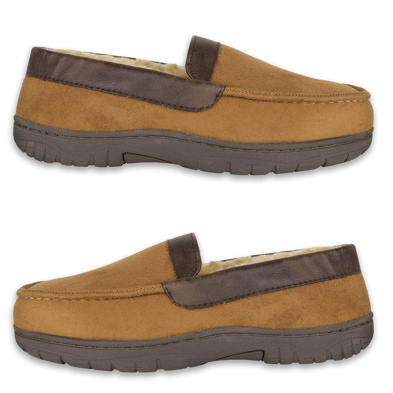 men's chaps suede & memory foam moccasin slippers