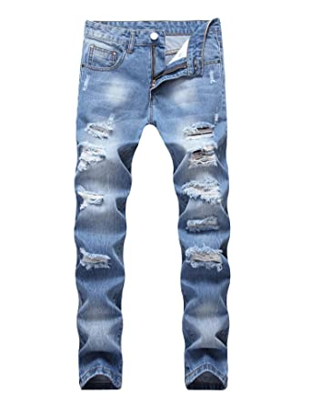 628ccfe192288 Enrica Men s Ripped Distressed Destroyed Straight Fit Washed Denim Jeans