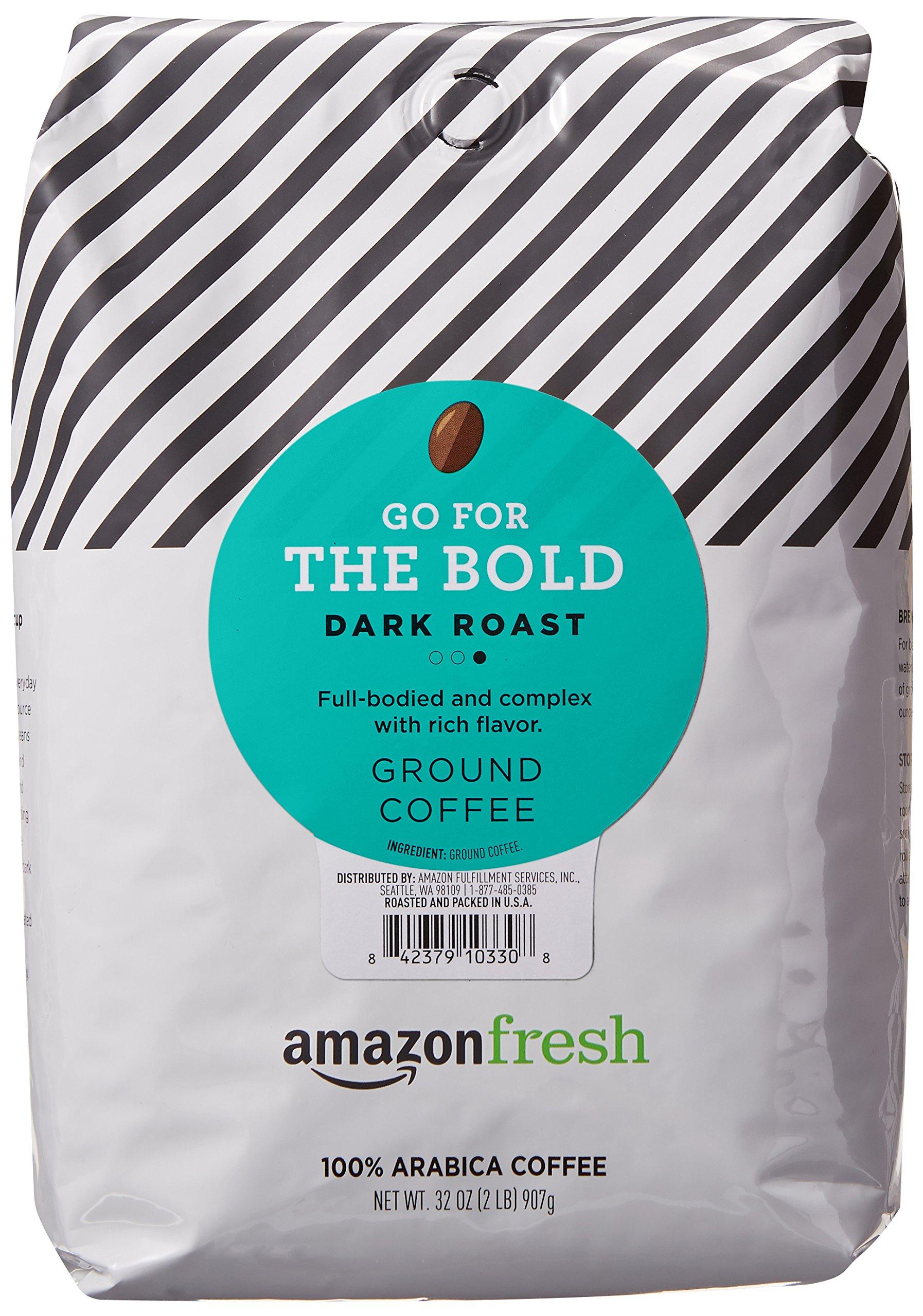 AmazonFresh Go For The Bold Ground Coffee, Dark Roast, 32 Ounce by AmazonFresh