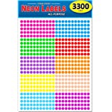 """Pack of 3300 1/4"""" Round Color Coding Circle Dot Labels, 10 Bright Neon Colors, 8 1/2"""" x 11"""" Sheet, 0.25 in."""