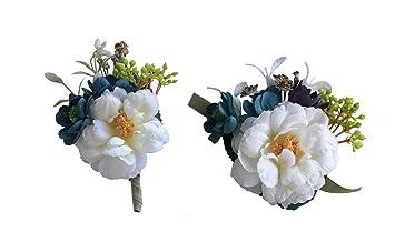 Amazon.com: Flores artificiales novio boutonniere y ...