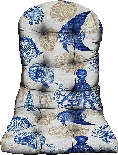 RSH D cor Indoor Outdoor Decorative Adirondack Cushions Ocean, Lake, Summer Sunshine, Tropical Beaches Coastal Living 1 – Adirondack Chair Cushion, Blue Tan Ivory Crab