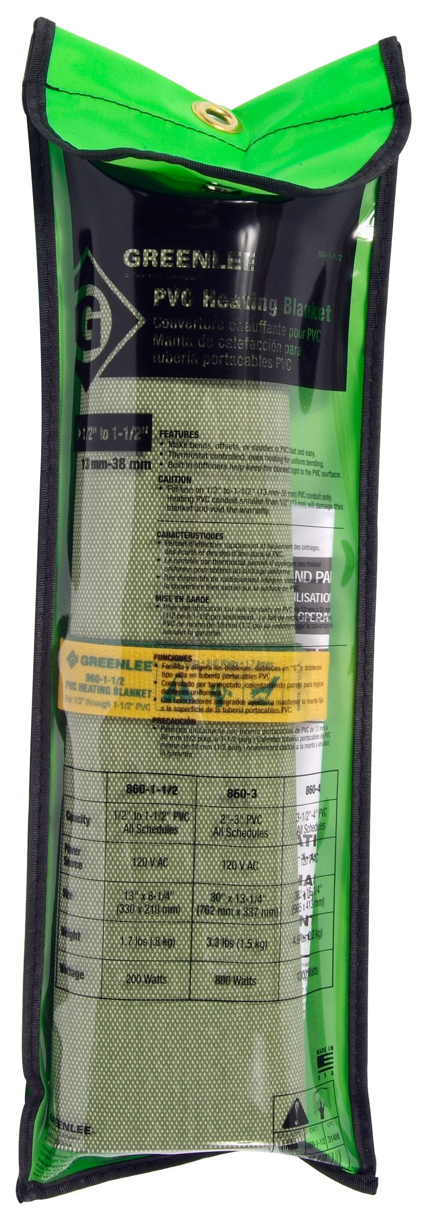 Greenlee 860-1 PVC Heating Blanket, 1/2-Inch to 1-1/2-Inch Capacity