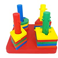 Jiada Wooden Intellectual Geometric Shape Matching Blocks | Montessori Educational and Learning Toys