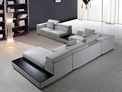 Superbe Vig Furniture Forte   Grey Microfiber Modern Sectional