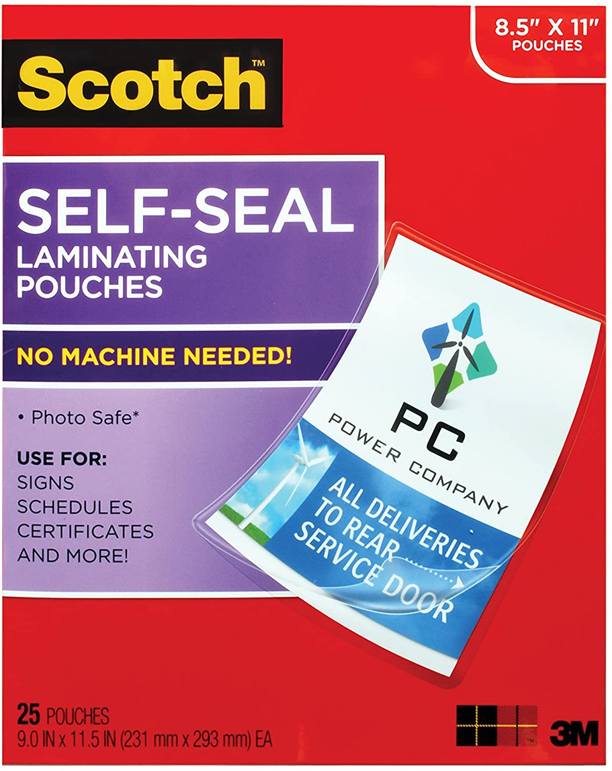 LS854-25G-WM Gloss Finish Letter Size 9.0 in x 11.5 in - 1 Pack LS854WC 25 Sheets Scotch Self-Sealing Laminating Pouches