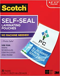 Scotch Self-Sealing Laminating Pouches, 25 Sheets, 9.0 in x 11.5 in, Gloss Finish Letter Size (LS854-25G-WM)