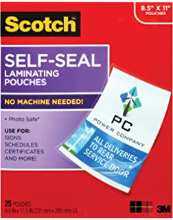 Amazon scotch ls851g self sealing laminating pouches 95 mil scotch self sealing laminating pouches 25 sheets 90 in x 115 in reheart