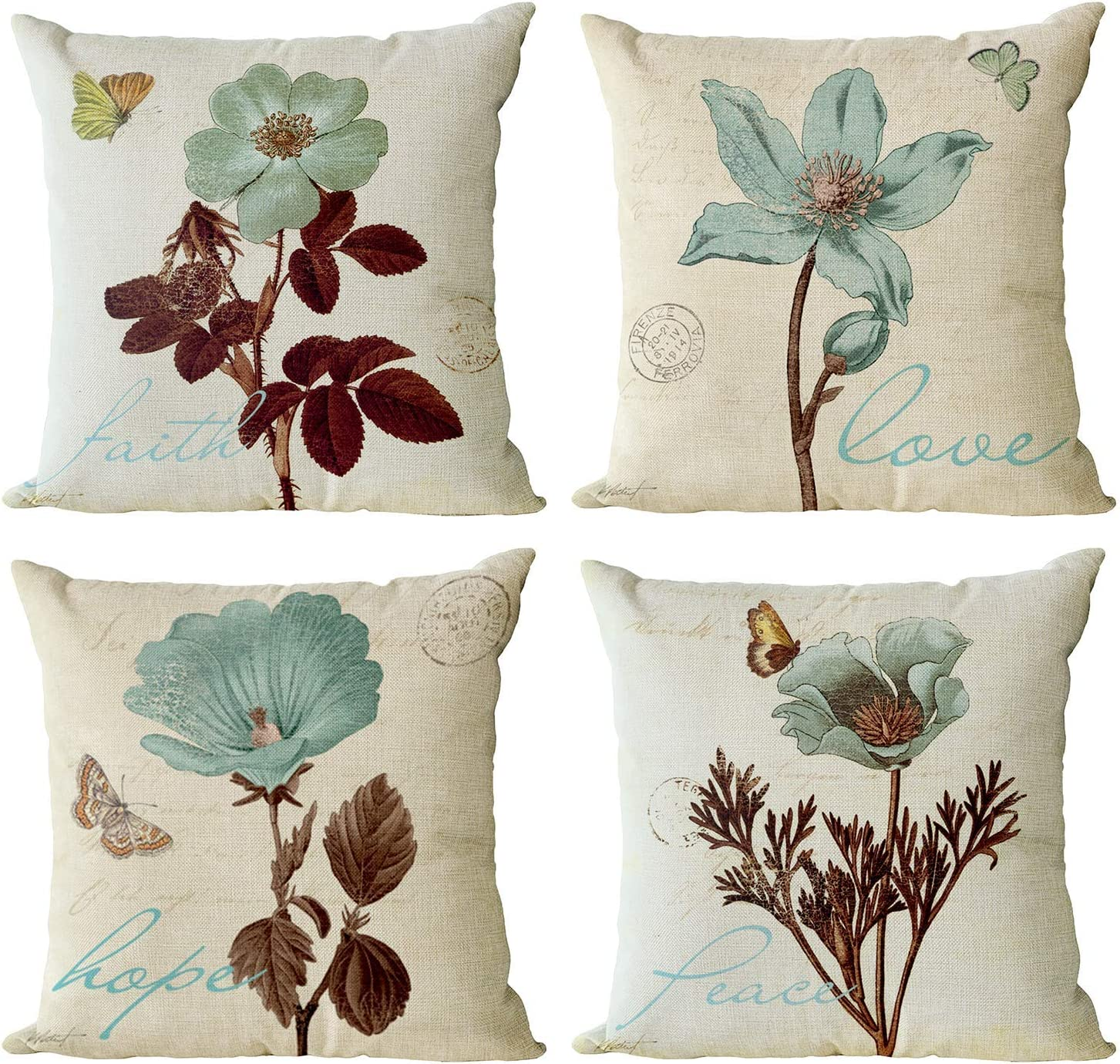 YeeJu Set of 4 Floral Decorative Throw Pillow Covers Plant Pillow Covers Cotton Linen Lotus Leaf Square Pillowcase Flower Outdoor Sofa Bedding Car and Home Decor Pillow Cushion Covers 12x12 Inch
