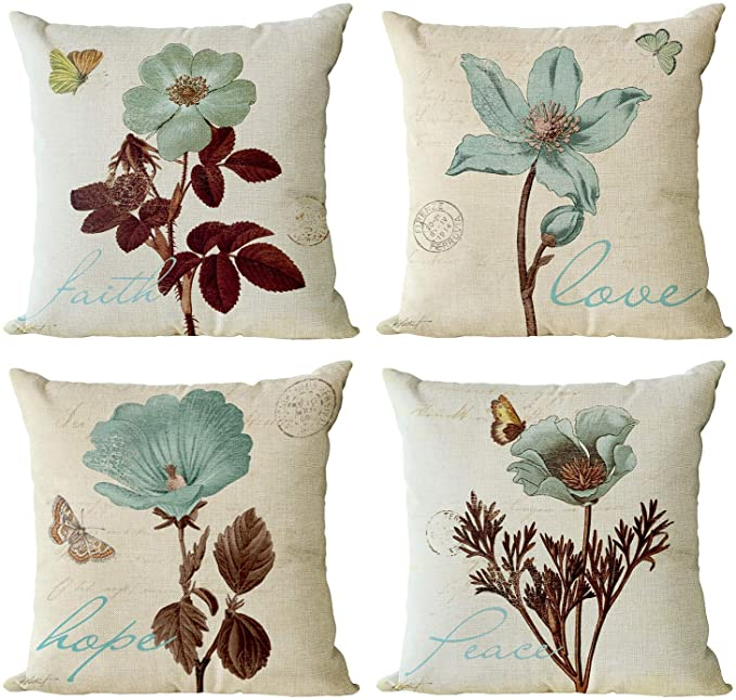 Amazon Com Yeeju Set Of 4 Lotus Leaf Decorative Throw Pillow Covers Butterfly Pattern Pillow Cases Cotton Linen Floral Square Cushion Covers Outdoor Sofa Bedding Car And Home Decor Pillow Protectors 18x18 Inch