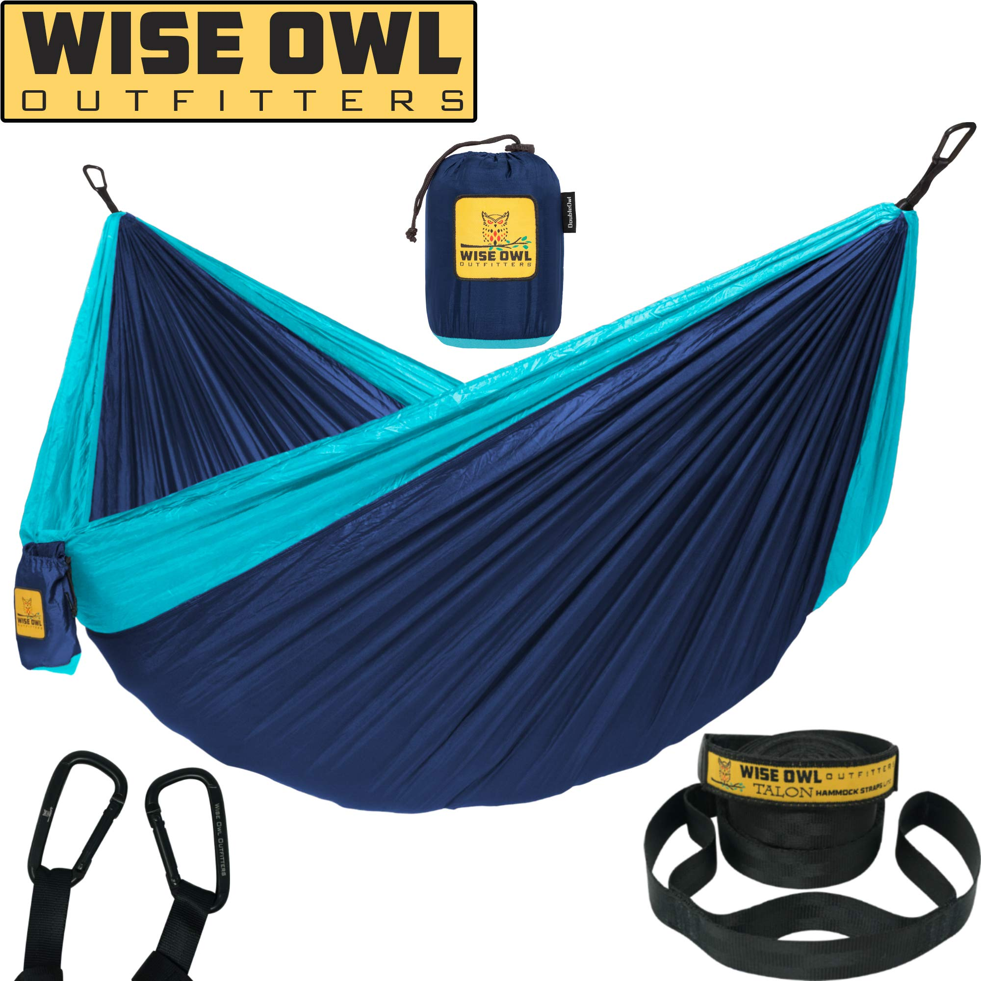 Wise Owl Outfitters Hammock for Camping Single & Double Hammocks Gear for The Outdoors Backpacking Survival or Travel - Portable Lightweight Parachute Nylon DO Navy & Lt Blue by Wise Owl Outfitters