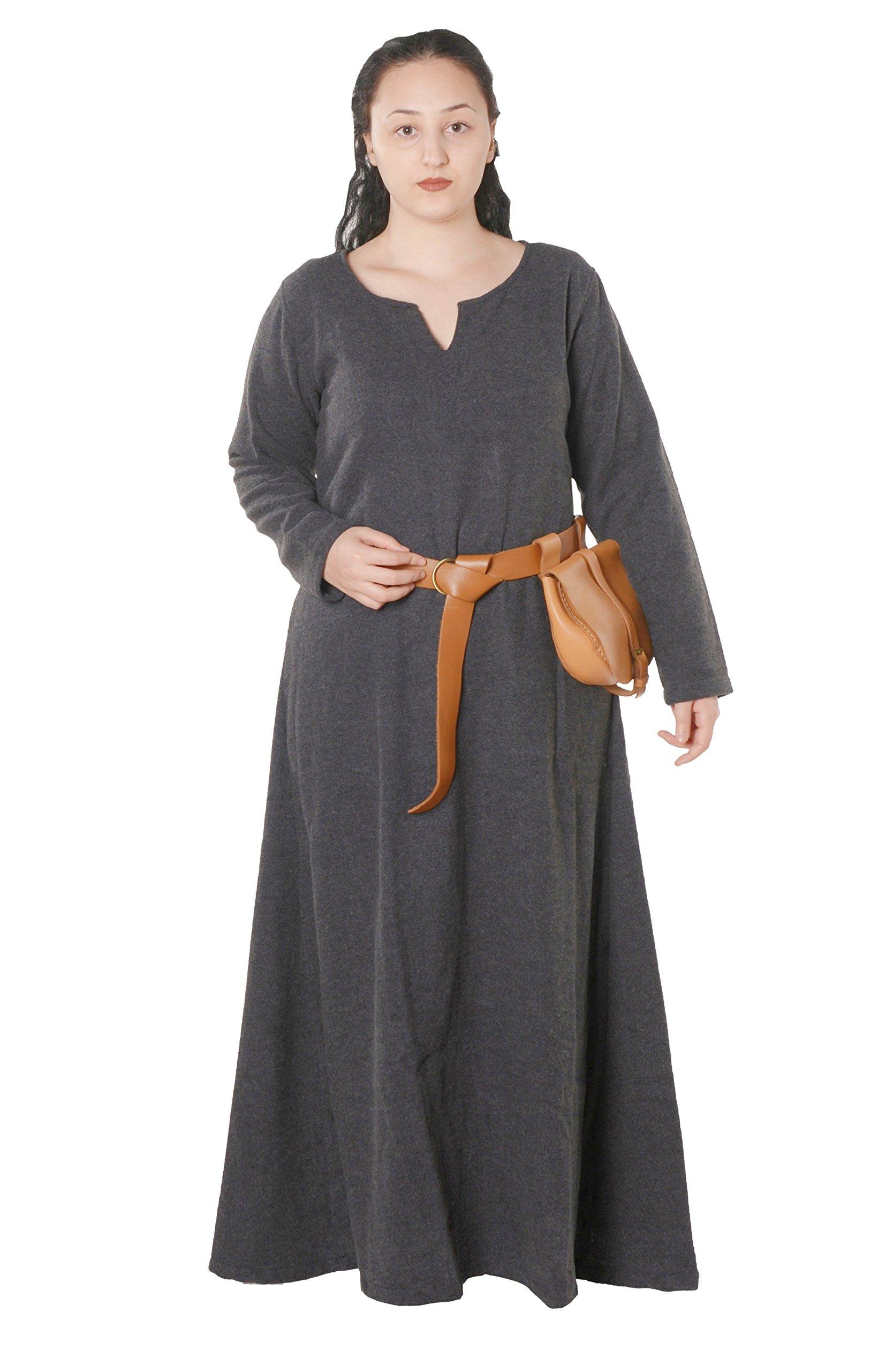 Wilma Medieval Viking Wool Dress by Calvina Costumes - Made in Turkey, Dark Grey, XXX-Large