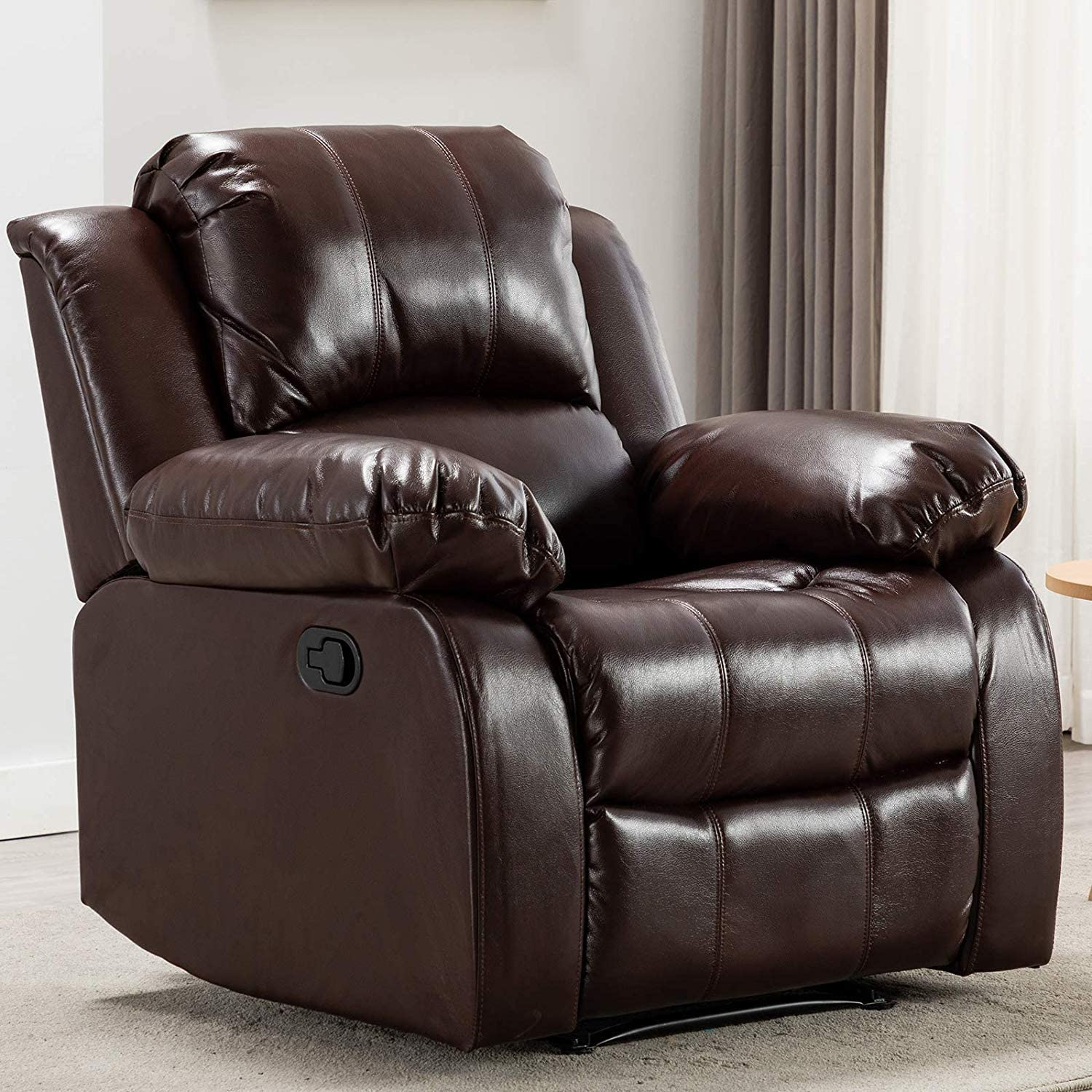 ANJ Recliner Chair Overstuffed Heavy Duty Recliner, Soft Faux Leather Home Theater Seating Manual Single Sofa (Brown)