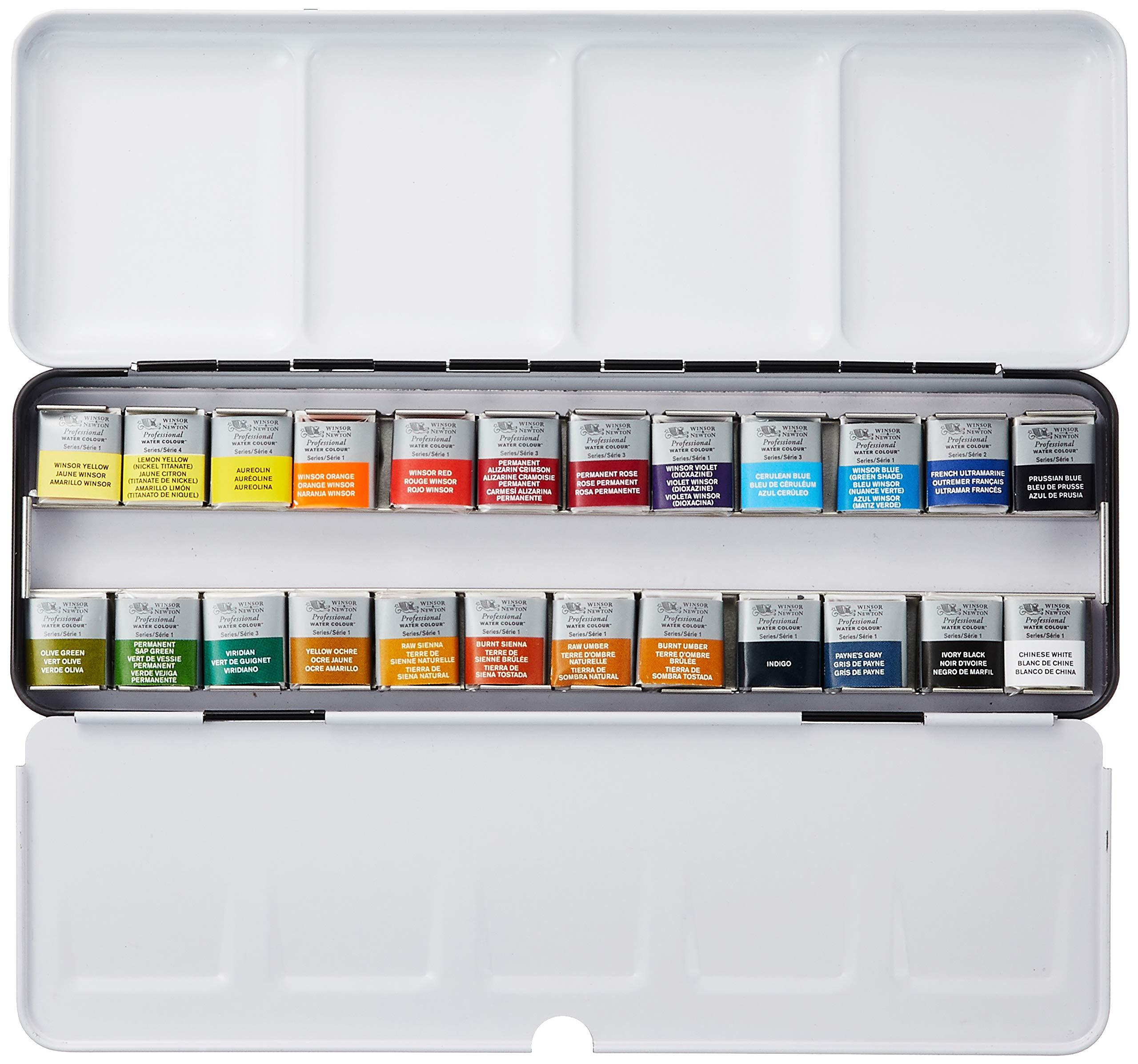 Winsor & Newton : Professional Watercolour : Lightweight Metal Sketchers Box Set : 24 Half Pans (24 Colors Set) by Winsor & Newton